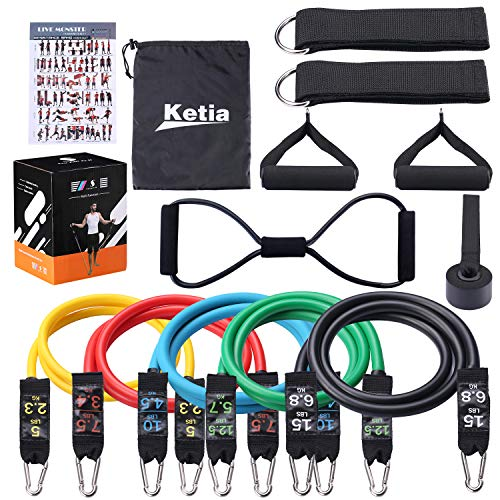 Ketia 11 Pcs Tube Resistance Bands Set,Door Anchor Attachment, Foam Handle, Ankle Straps, Resistance Exercise,Exercise Tube Bands for Body Shaping, Training, Physical Therapy- 100% Life Time ()