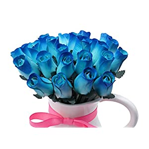 Orchid & Ivy 24 Beautiful Realistic Wooden Roses - Artificial Flowers - Blue Beauty - Gift Boxed 48