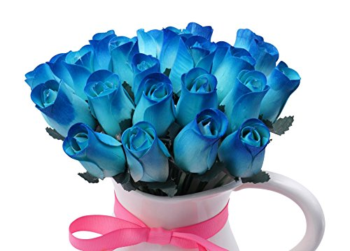 Orchid & Ivy 24 Beautiful Realistic Wooden Roses - Artificial Flowers - Blue Beauty - Gift Boxed
