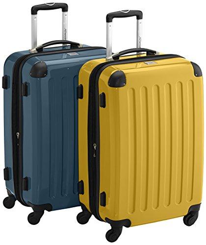 HAUPTSTADTKOFFER - Alex - 2er Koffer-Set Hartschale glänzend, 65 cm, 74 Liter, Graphit-Gelb Waldgrün-gelb