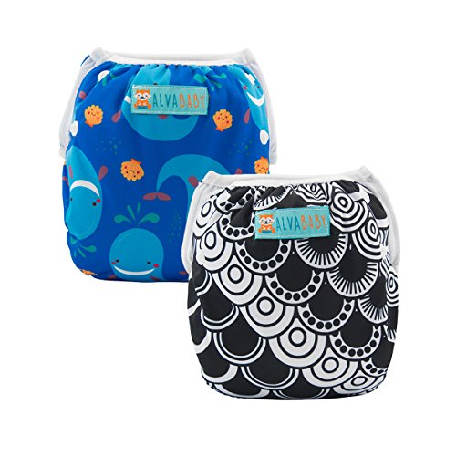 ALVABABY Baby Swim Diapers Boys Reuseable Adjustable One Size 0-24 mo. 10-40lbs 2pcs Baby Gifts (SW54-55, 0-2 Years) from ALVABABY