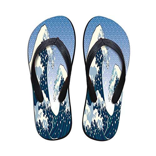 - Japanese Wave Women Flip Flops,Far Eastern Painting Oceanic Storm Theme Tsunami Wind Water Artwork for Walking Hiking,US Size 9