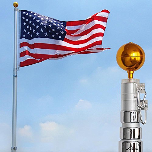 Yeshom 20 ft Telescopic Aluminum Flag Pole 3 x 5 US Flag & Ball Top Kit 16 Gauge Telescoping Flagpole Fly 2 Flag