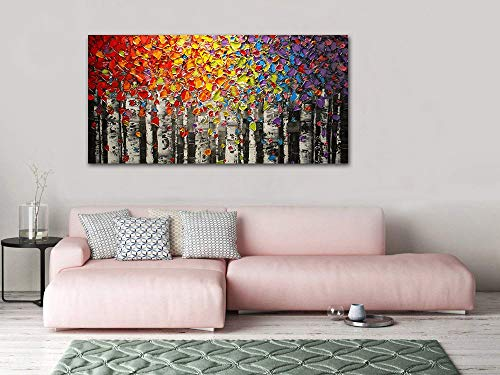 Faicai Art Canvas Wall Art Red Yellow Blue Purple Birch Oil Painting Wall Decor Pictures Hand Painted 3D Texture Tree Paintings On Canvas Abstract Artwork for Home Decorations Wooden Framed 24