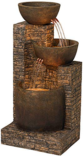 """John Timberland Mason Outdoor Floor Water Fountain Three Bowl Floor Cascade 35"""" for Yard Garden Lawn - 35"""" high x 15"""" wide x 16 1/2"""" deep. Weighs 26 lbs. Stone finish fountain with light. From the John Timberland brand. Three tiers of water bowls creates a soothing, relaxing sound. Can be used indoors or outside. - patio, outdoor-decor, fountains - 51ZNs8WFvmL -"""