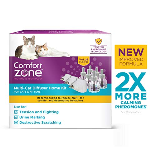 Comfort Zone MultiCat Calming Diffuser Kit, New 2X Pheromones for Cats Formula, 3 Diffusers and 6 Refills from Comfort Zone