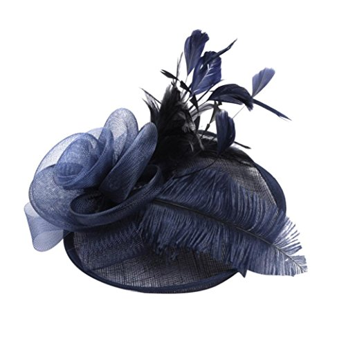 (Kimloog Fascinator Hats, Women Feather Mesh Cocktail Wedding Veil Headband Caps (Navy))