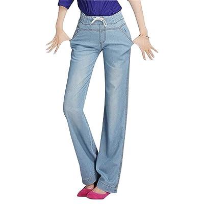 ADELINA Pantalones De Denim para Corte De Bota Mujer Ropa para Pantalones Anchos De Pierna Ancha Botón Suelto con Bolsillos Pantalones Anchos De Cintura Elástica: Ropa y accesorios