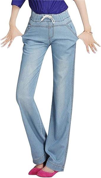 Pantalones De Denim Para Corte De Bota Mujer Para Anchos Pantalones De Casuales Mujeres Pierna Ancha Boton Suelto Con Bolsillos Pantalones Anchos De Cintura Elastica Amazon Es Ropa Y Accesorios
