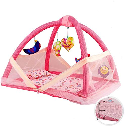 HAPHAE Baby Bedding Set/Mosquito Net/Play Gym with Hanging Toys/Activity Play Centre (Pink, 0-12 Months)