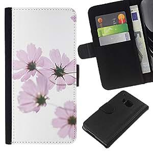 KLONGSHOP // Tirón de la caja Cartera de cuero con ranuras para tarjetas - La primavera blanca rosada de las flores blanca - HTC One M7 //