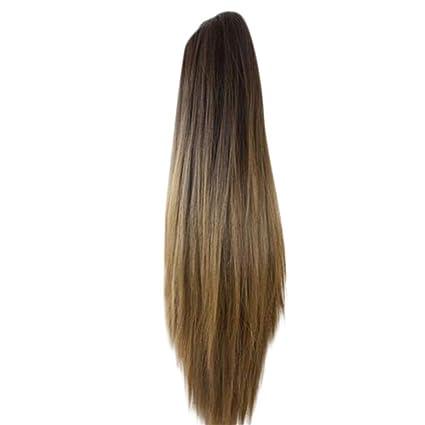 Yivise - Peluca de pelo largo y liso para alargar el cabello ...