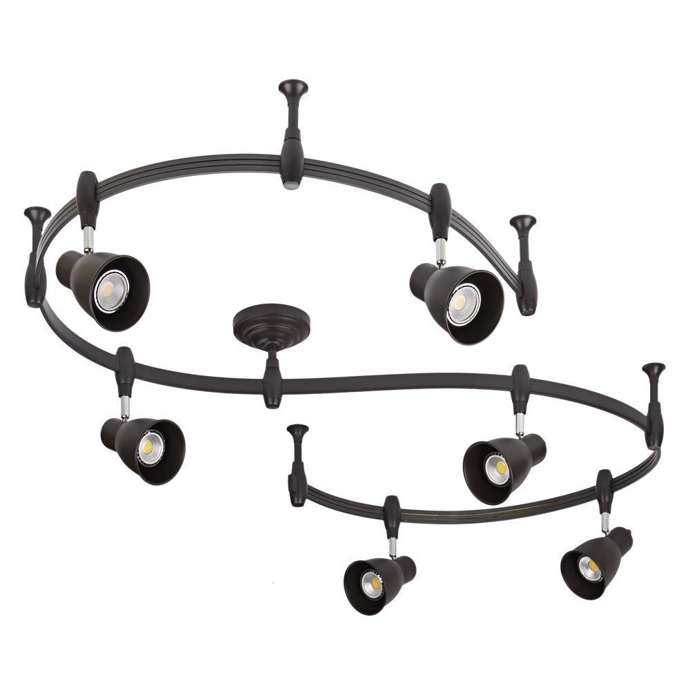 Illuminazione Aggiustabile da Soffitto per Cucine Uffici Biard Binario Flessibile 2m Singolo Circuito Nero con Alimentatore Elettrico Sale da Pranzo e Negozi