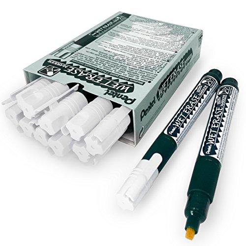 Pentel Wet Erase Chalk Marker Pen – Medium Chisel Tip – Pack of 12 – White – SMW26 Pentel Colored Marker
