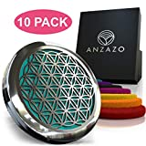 10PACK Car Essential Oil Diffuser - 1.5'' Magnetic Locket Set with Air Vent Clip - Best for Aromatherapy - Fragrance Air Freshener, Scents Diffusers - Sacred Geometry Jewelry for Car, Flower of Life