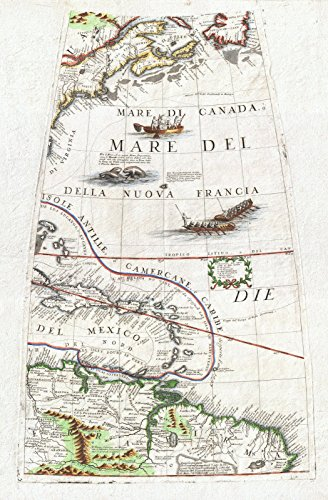 Historic Map | Coronelli Globe Gore Map of NE North America, The West Indies, and NE South America, 1688 | Historical Antique Vintage Decor Poster Wall Art | 24in x 36in ()