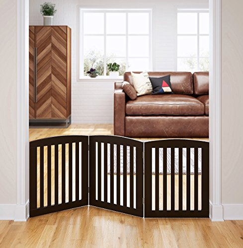 PAWLAND Wooden Freestanding Foldable Pet Gate for Dogs, 24 inch 3 Panel Step Over Fence, Dog Gate for The House, Doorway, Stairs, Extra Wide, Espresso