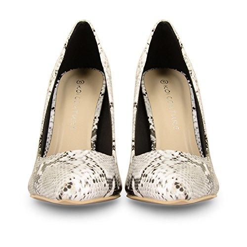 de White Toe Black Patent Tilly tacón zapatos corsé Prom Snake Shoes punto stilettos UK tamaños OntOx7Xgqw