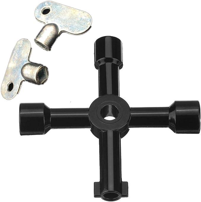 Topways/® Llave de Utilidad Multifuncional 4-Puntas para Abrir El/éctrico Medidor et llaves para radiadores contadores 5 mm calefacci/ón