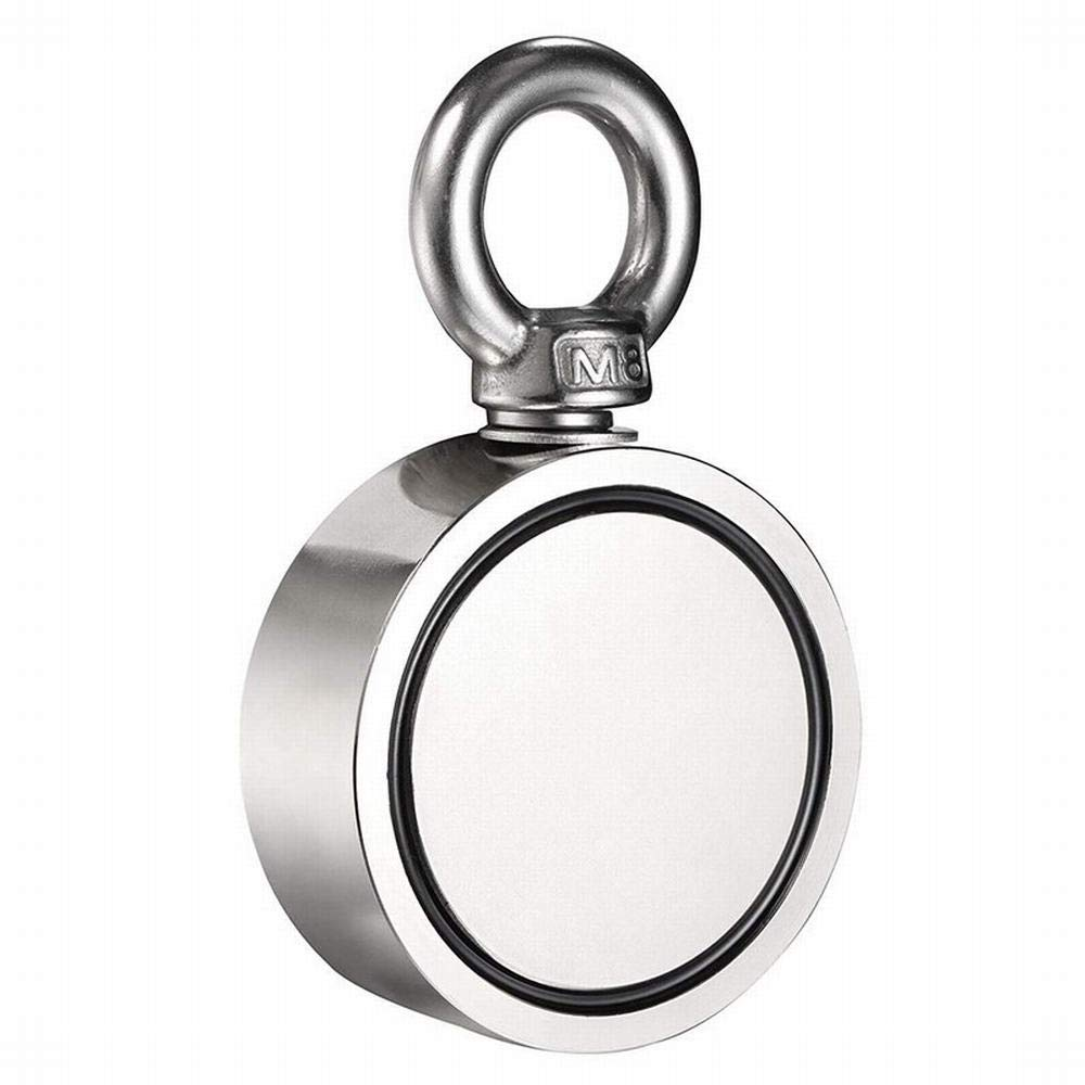 Silver - Hot 150Kg Pull 60Mm N52 Ndfeb Salvage Anti-Collision Magnet Double-Sided Round Magnet