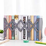 RoseJacky Bookends Adjustable Metal Iron Bookends Heavy Duty Nonskid Bookend Magazine File Holder Bookshelf Decor Desktop Organizer for Bedroom Library Office School Book Display (Gray)
