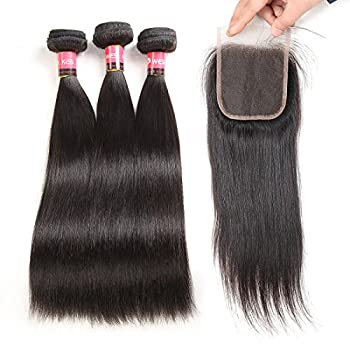 West Kiss Hair Brazilian Straight Virgin Remy Human Hair Extensions 3 Bundles with 4 4 Free Part Lace Closure Nature Color 100% Unprocessed (14 16 16 & 12 inch)
