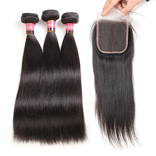 West Kiss Hair Peruvian Straight Virgin Remy Human Hair 3 Bundles with Lace Closure Human Hair Extensions 4
