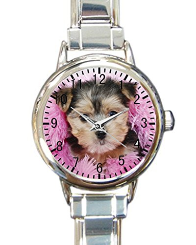 Dog yorkies live Custom Round Charm Wrist Watch Waterproof Womens Wrist Watch for Pug Dog Puppy Lovers