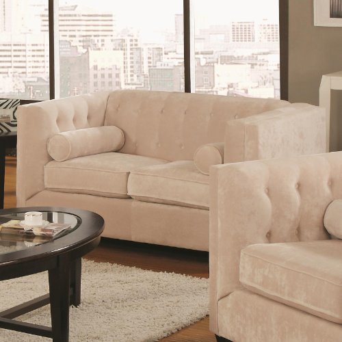 Coaster 504392 Alexis Transitional Chesterfield Stationary Loveseat in Almond with Track