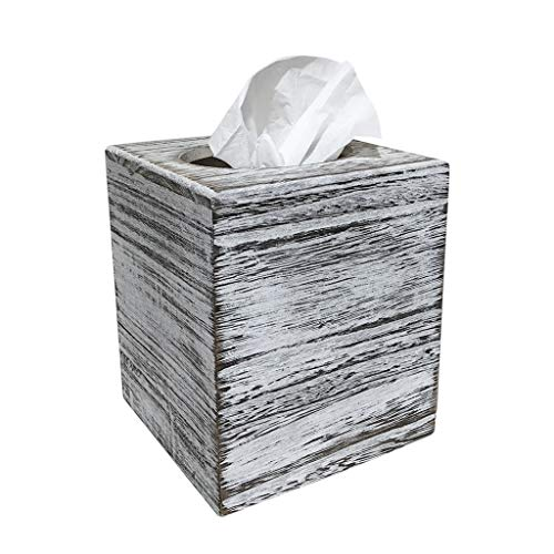 C60 COOPER White Weathered Wood Style Tissue Box Cover Square, Tissue Box Cover, Tissue Box Cover Holder - Paulownia Wood by C60 COOPER (Image #5)
