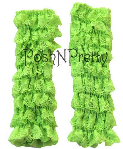 Tiers of Lace One Size Chartreuse Lace Ruffle Baby Toddler Leg Warmers