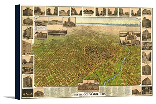 Denver  Co Panoramic Map   1908  36X24 Gallery Wrapped Stretched Canvas