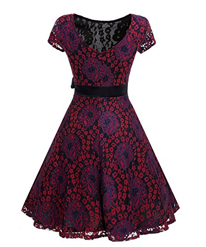 Party Girls Floral Wine Vintage Dress Summer Dress Ladies KAXIDY Swing Evening 1950s red Lace xqTXw
