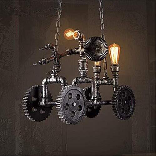 BDETDL Araña De La Vendimia, Industrial Retro Ático Robot Carro Carling Colgante Luz De Techo, Woodcarving Manguera De La...