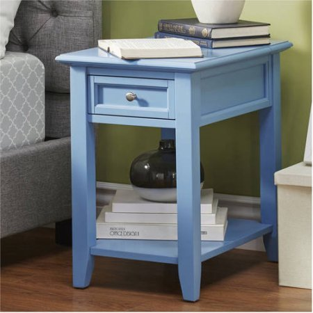 Chelsea Lane End Table with Power Outlet, Multiple Colors (Heritage Blue)