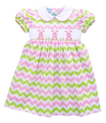 Anavini Green & Pink Chevron Bunny Dress -5