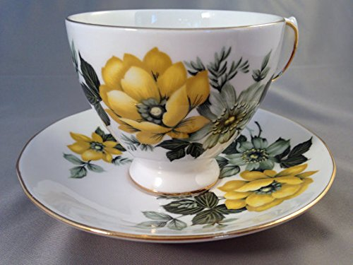 Queen Anne Cup Saucer - Queen Anne England Bone China Green & Yellow Flowers Pattern Tea Cup and Saucer Set