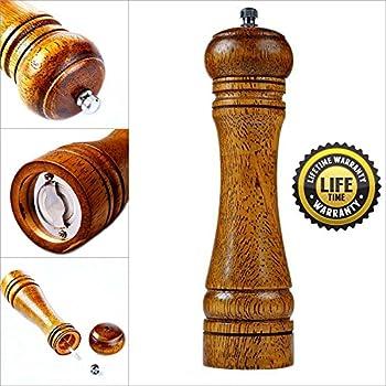 Premium Oak Wooden Salt Mill or Pepper Mill with Strong Adjustable Ceramic Rotor Salt Grinder or Pepper Grinder (8 inch) - MadeMarle