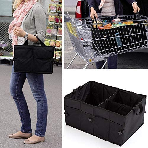 Portable Cargo Carrier Caddy for Car Truck SUV Van 21 x 15 x 10 inch Folding Bag HelpAccess Auto Trunk Storage Organizer Collapsible Storage Container Bin with Pockets
