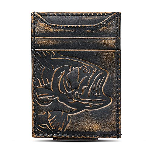 - HOJ Co. BASS FISH Front Pocket Wallet-Slim Money Clip Wallet-Strong Magnetic Closure-Fisherman Gift