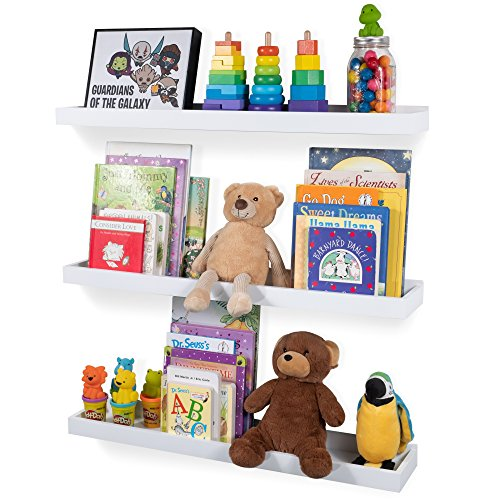 Wallniture Philly 3 Floating Shelves Trays Bookshelves and Display Bookcase - 31.6 inch Modern Wood Shelving Units for Kids Bedroom & Nurseries - White Wall Mounted Storage Shelf ()