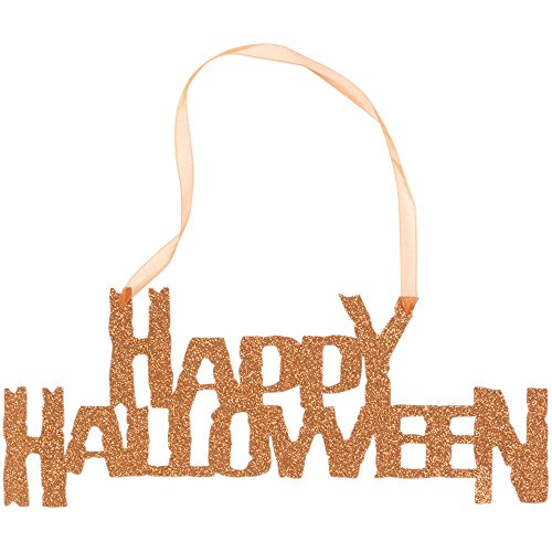 Creative Converting 141033 12 Count Die Cut Glitter Sign with Ribbon Hanger, Happy (Glitter Happy Halloween Sign)