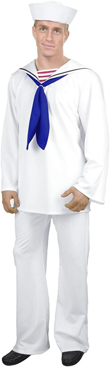 Men's White Sailor Suit Costume Large