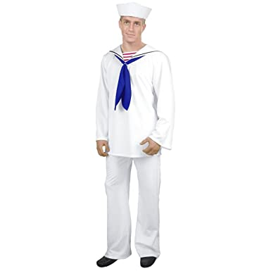 Amazon.com: Blanco Sailor traje de disfraz – Grande – Pecho ...