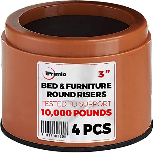 """iPrimio Bed and Furniture Risers – 4 Pack Round Elevator up to 3"""" & Lifts Up to 10,000 LBs - Protect Floors and Surfaces – Durable ABS Plastic and Anti Slip Foam Grip – Non Stackable – Brown"""