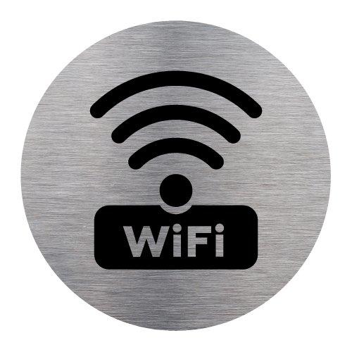 Plaque d'information WIFI - Adhésif Autocollant Sticker aspect Aluminium Brossé - Pictogramme WIFI Porte Disque Rond Diamètre 83 mm - WIFI Signalétique.biz France Q0174