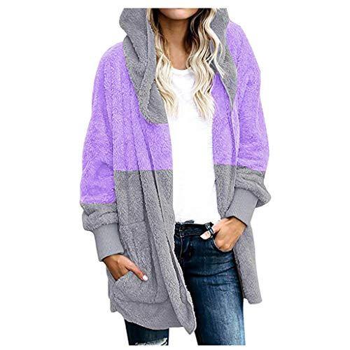 Spring Color Women's Winter Faux Fur Patchwork Hoodie Coat Open Front Fleece Jacket Outwear Plus Size with Pocket Purple
