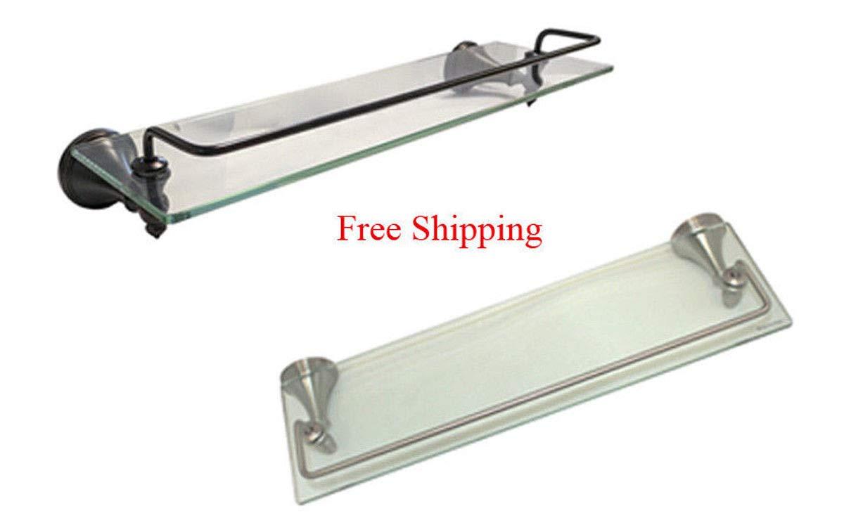 Satin Nickel & Dark Oil Rubbed Bronze Bathroom Accessories 18'' x 6'' Glass Shelf