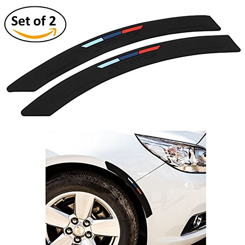 Car Side Bumper Body Protector Guard / Auto Stylist Decorative Corner Strip by COSMOSS, Easy D.I.Y. Installation, 2-PACK Auto Rubber Moulding Protector Strip (Black, 40cm)