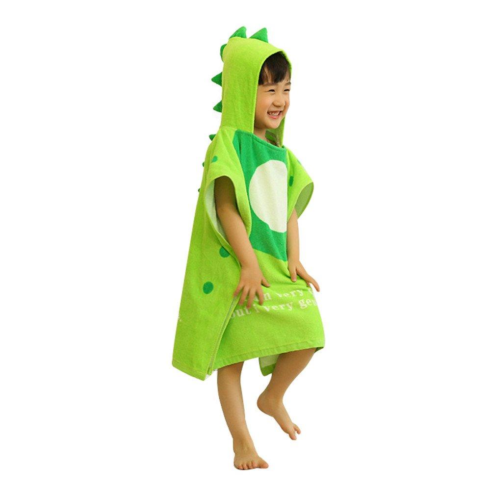 DoMii Toddler Kid Hooded Bath Towel Dinosaur Cotton Absorbent Beach Pool Bath Robe Green Dinosaur M/1-5T